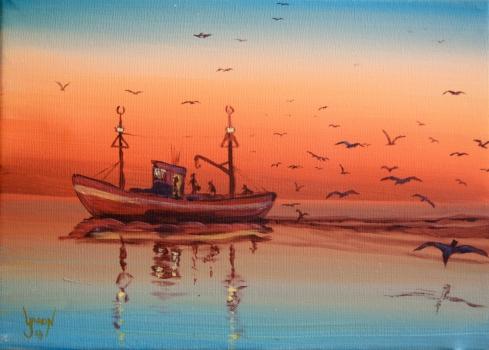 Amanecer pescando
